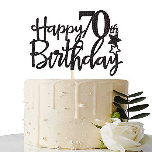Black Happy 70th Birthday Cake Topper,Hello 70,Cheers to 70 Years,70 & Fabulous Party Decoration ()