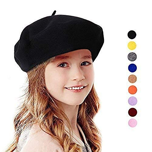 e06f8edb395 Bonaweite French Wool Berets Hat Classic Fashion Warm Beanie Cap for Girls  Black