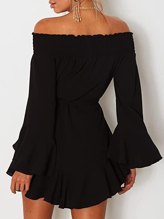 01635761eed DUBACH Womens Off Shoulder Flared Drop Hem Tied Casual Dress Black,Small.  Back. Double-tap to zoom