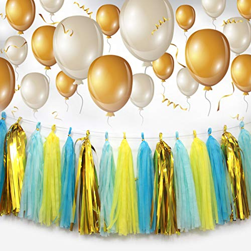 Kinsley Christmas Decoration DIY Tissue Paper Tassel Garland Tassel Banner 20 PC for Birthday,Wedding,Party,Baby Shower,Bridal Shower,Christening Decoration Gorgeous Colors (Gold/Yellow/Blue) -