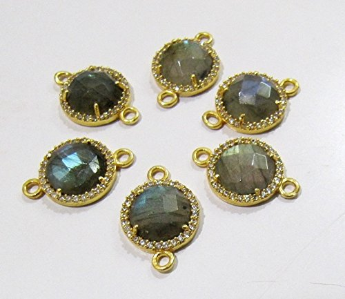 Labradorite Round Briolette Connectors With Pave CZ 24 kt Gold Plated / Double Loop 13 mm Faceted Gemstone Pendant / Pave Link Connectors