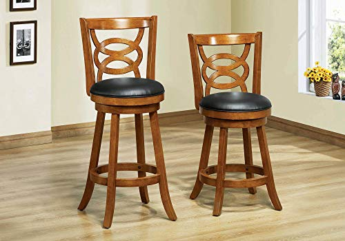 Monarch Specialties I I 1251 Solid Wood High Swivel Barstool, Set of 2, 42
