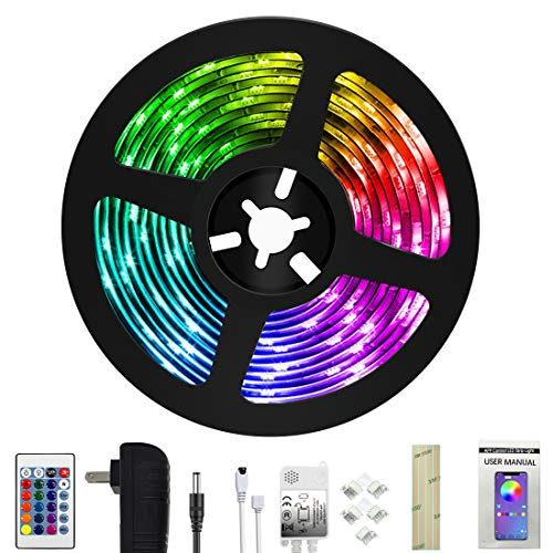 Weird Tails LED Strip Lights 16.4ft - (New Version) Music Sync Color Changing Lights with +50% Brightness 5050 RGB LEDs and Strong Adhesive Tape, APP Control, Dimmable, for Party, Home Decoration (Changing Led Strip Color)
