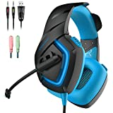 Gaming Headset, Onikuma Stereo Over-ear Noise Isolation Bass PC Gaming Headphones with Microphone for PS4 Laptop Computer Smart Phone Xbox one