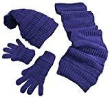 N'Ice Caps Big Girls 9-13 Years Solid Cable Knit Hat/Scarf/Glove Accessory Set (Dark Purple, 9-13 Years)