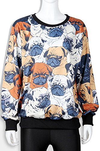 Thenice Women's Sport Pullovers Couples Sweater Sweatshirt Fashion T-shirt (Pug) by Thenice