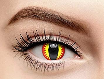 69d192d20e Amazon.com   Non-prescription Halloween Contact Lens Colored Cosmetic  Contacts Dragon Eyes Halloween Eye Shadow   Beauty
