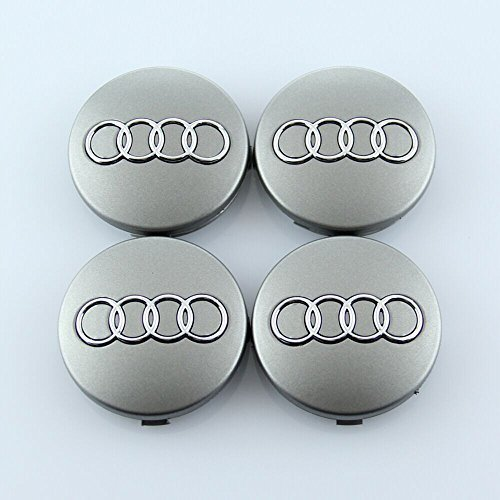 Wheel Center Caps Hub Caps For Audi 60mm 4B0601170 (4Pcs) (Gray)