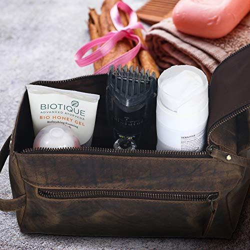 KOMALC Genuine Buffalo Leather Unisex Toiletry Bag Travel Dopp Kit
