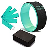 Yoga Wheel Set | Dharma Wheel, Yoga Block, Fitness Strap For Stretching, Pilates, Leg & Abs Exercises, Increase Flexibility, Balance & Mobility, Strong Brick & Padded Roller For Backbends Orion Sports
