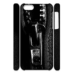 Iphone 5C Case, zipper black and white 3D Case for Iphone 5C White