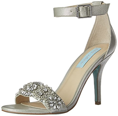 Jeweled Shoes Bridal (Blue by Betsey Johnson Women's Sb-gina Dress Sandal, Silver, 8 M US)