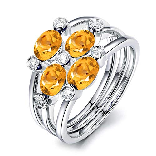 (KnSam Sterling Silver Jewelry Ring for Women Fashion Oval Shape Citrine 5x3MM Size 11)