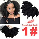 Silike 7' New Mali Bob Crochet Hair For Beauty (2 Bundles/Pack) Afro Kinky Marlybob Crochet Braids Hair Extension (#1)