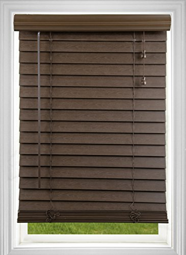 DEZ Furnishings QADO400540 Corded 2 Inch Faux Wood Blind, Dark Oak, 40W x 54L Inches