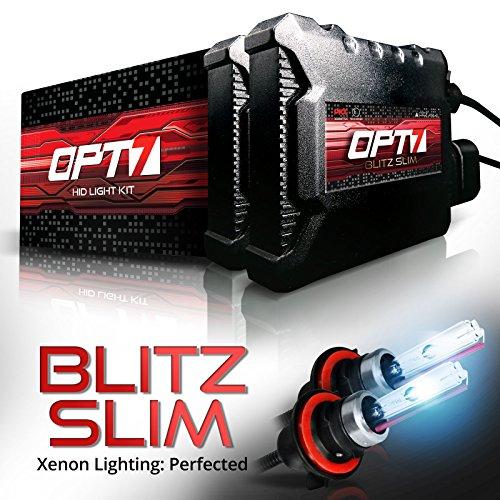 OPT7 Blitz Slim 9007 Bi-Xenon HID Kit - 3.5X Brighter - 4X Longer Life - All Bulb Sizes and Colors - 2 Yr Warranty [8000K Ice Blue Light] -