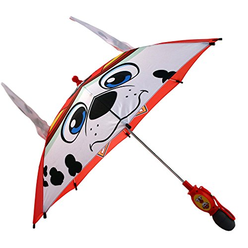 Umbrella Nylon Windproof (Nickelodeon Boys' Little Paw Patrol Marshall 'Squeeze and Flap' Fun Rainwear Umbrella, red/White, Age 3-7)