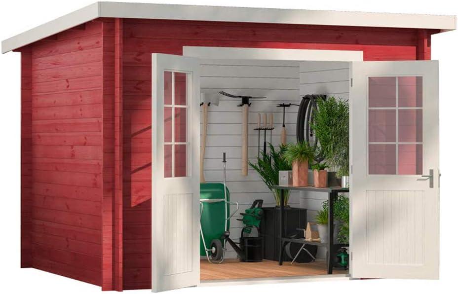 Carlsson Alpholz Maria - Casa de jardín de madera maciza con 28 mm de grosor de pared, incluye material de montaje, dimensiones: 300 x 250 cm, techo: Amazon.es: Jardín