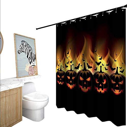 BlountDecor Vintage Halloween Shower Curtains Mildew Resistant Jack o Lanterns 55