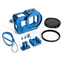 HSU Aluminum Alloy Protective Case Skeleton with 52mm Uv Filter for Gopro hero 5 (Blue)