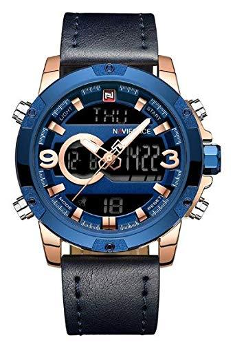Naviforce Mens Digital Analog Watches Waterproof Sport Leather Band Watch with Alarm Dual Display Date Wristwatch 9097 R GBEBE