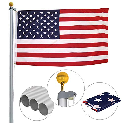 (ZENY 20FT Sectional Flag Pole 3'x5' American Flag & Ball Top Kit Hardware Outdoor Garden Halyard Pole Inground Flagpole (20 ft))