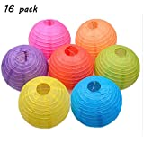 "KEKH 16 Pack Colorful Paper Lanterns 4"", 6"", 8"", 10"" Chinese Paper Hanging Decorations Ball Lanterns Lamps for Home Decor, Birthday Parties, Christmas and Weddings"
