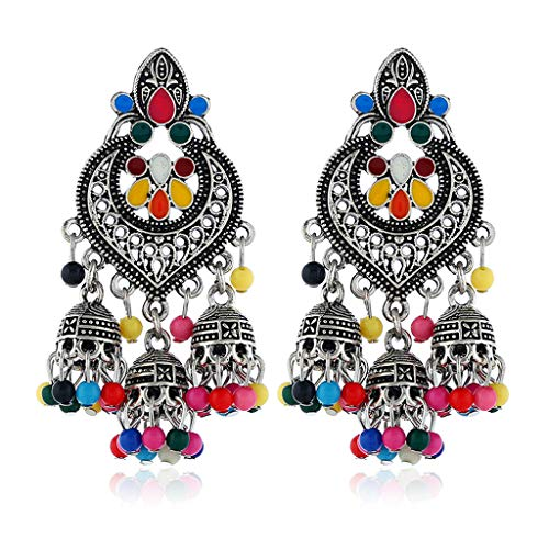 (Kofun Earrings, Retro Indian Bollywood Kundan Jhumka Jhumki Drop Earrings Gypsy Fashion Jewelry)