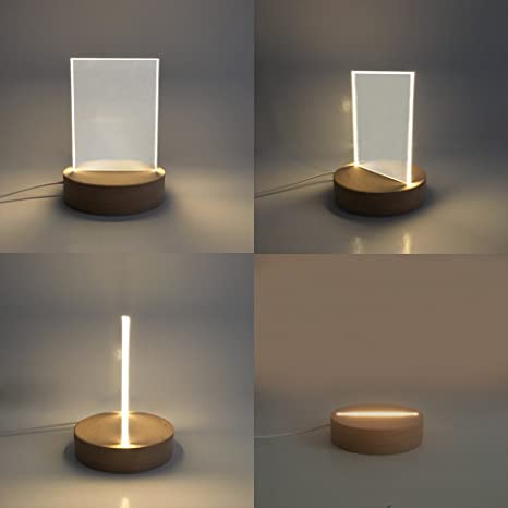 Petito Led Wooden Base Night Light With Removable Blank