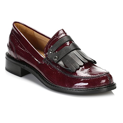 Tower Femmes Burgandy Patent Cuir Loafers