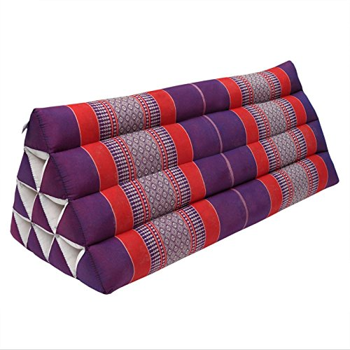 Thai triangular cushion XXL, relaxation, beach, kapok, made in Thailand Violet/Red (81515) by Wilai GmbH