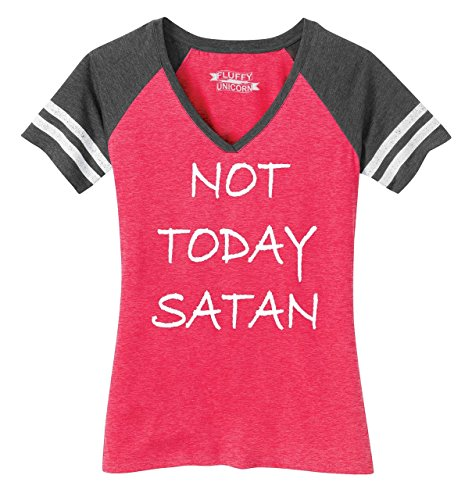 Ladies Game V-Neck Tee Not Today Satan Funny Religious Tee Heathered Watermelon/Heathered Charcoal ()
