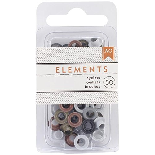 American Crafts Elements Eyelets, 0.1875-Inch, Metallic, 50-Pack 366332