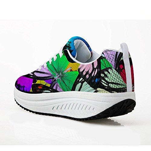Scarpe Con La Zeppa Per Le Donne Sneakers Da Passeggio Quotidiane Camminata  Quotidiana Scarpe Traspiranti Modello ... 4b19044da27