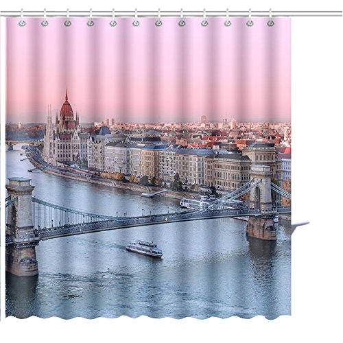 Delta Kit Graphic (MuaToo Shower Curtain Picturesque Dusk Scenery of Budapest Historical Downtown Over Danube River Delta Graphic Print Polyester Fabric Bathroom Decor Sets with Hooks 36 x 78 Inches)
