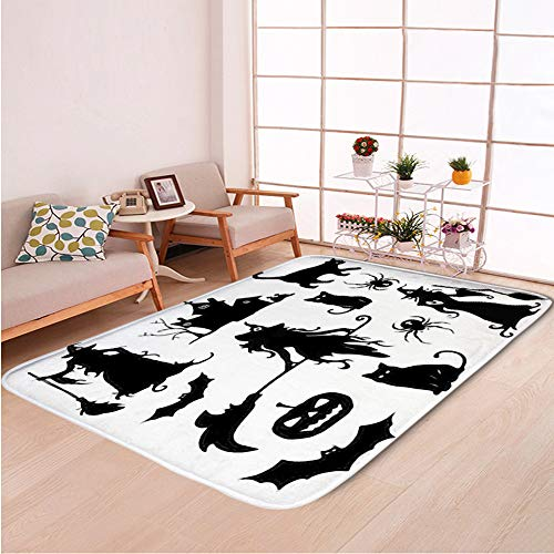 Home Decor Bathroom WC Rug Living Room Carpets Door Mat Indoor Rugs,Big Vector Set Attributes Halloween,Bedroom Floor Mats