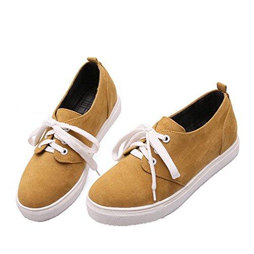 AgooLar Damen Niedriger Absatz Gewebe Rein Schnüren Schließen Zehe Pumps Schuhe Gelb