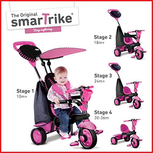 4 in 1 Baby Tricycle (Pink) - 7