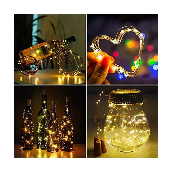 Quace 20 Led Wine Bottle Cork Lights Copper Wire String Lights 2m Battery Operated Wine Bottle Fairy Lights Bottle Diy Christmas Wedding Party D飯r Warm White 2 Units Shop Home Items