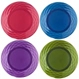 plastic outdoor plates - Optix 10-1/4 inch Plastic Plates | Set of 8 in 4 Assorted Colors