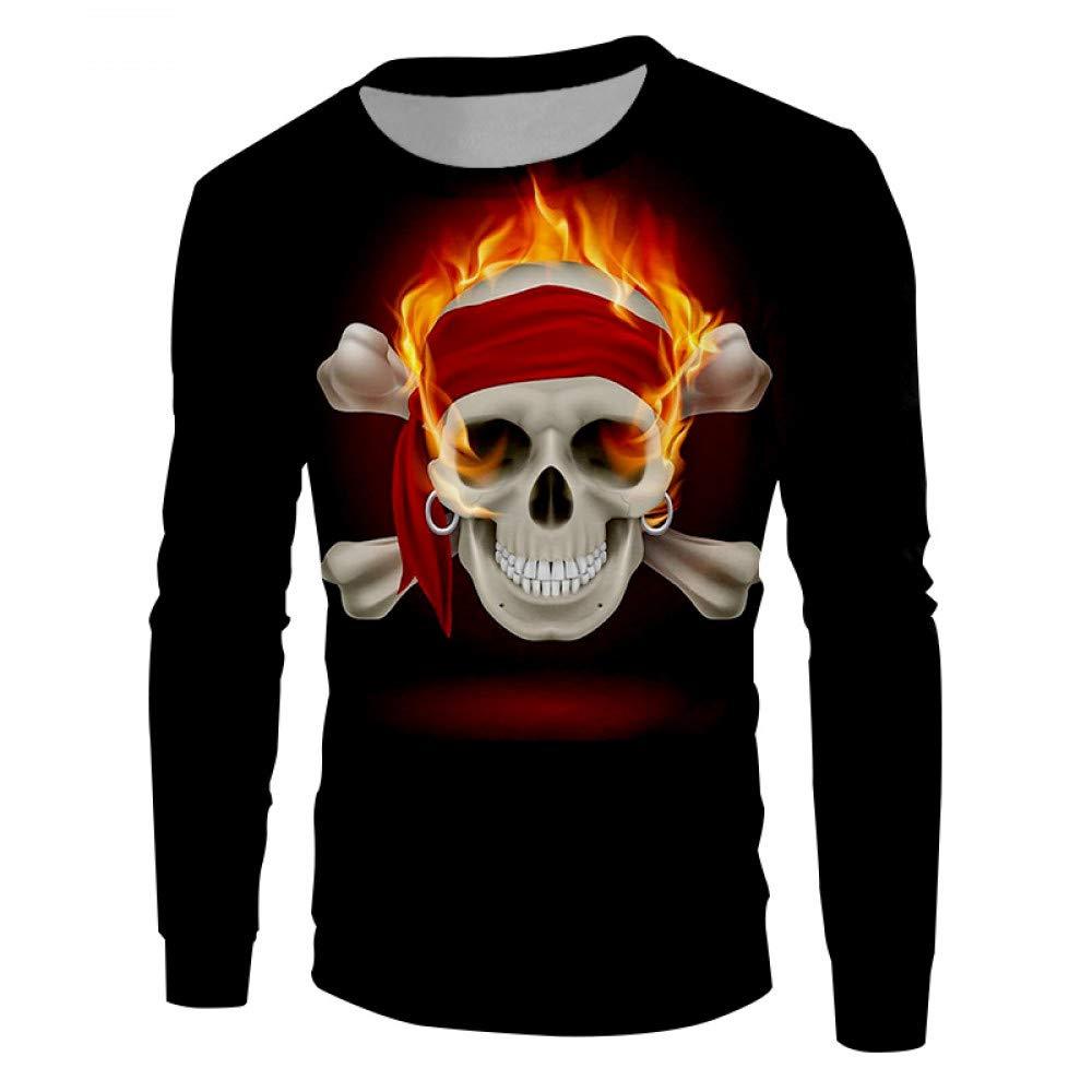 Ai Ya-weiyi 3D ROT Flame Skulls  Herren Favoriten Tops Lieferanten Casual Pullover