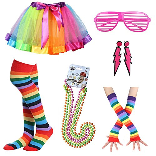 Womens 80s Costume Accessories Fancy Outfit for 1980s Party Rainbow Tutu Skirt Neon Earrings Sunglass Leg Warmers Gloves Pearls Necklace (A9) (Neon Tutu)