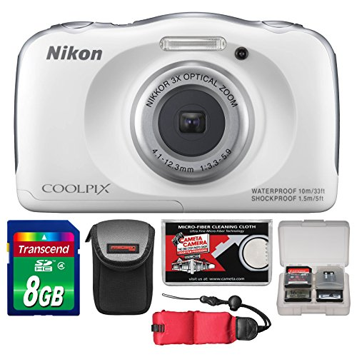 Nikon Coolpix S33 Shock & Waterproof Digital Camera (White) with 8GB Card + Case + Float Strap + Accessory Kit
