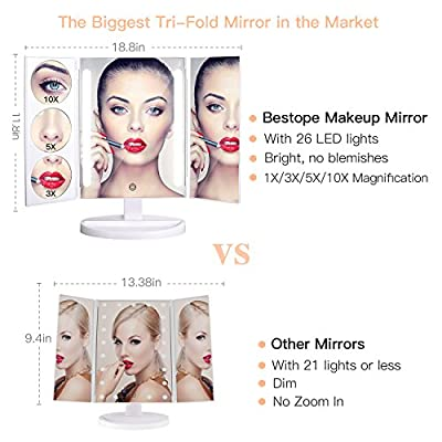 BESTOPE Makeup Mirror Oversize 18.8inch Lighted Vanity Mirror with 10X/5X/3X Magnification, 26 LED Light Trifold Cosmetic Mirror with 360° Rotation and Touch Screen