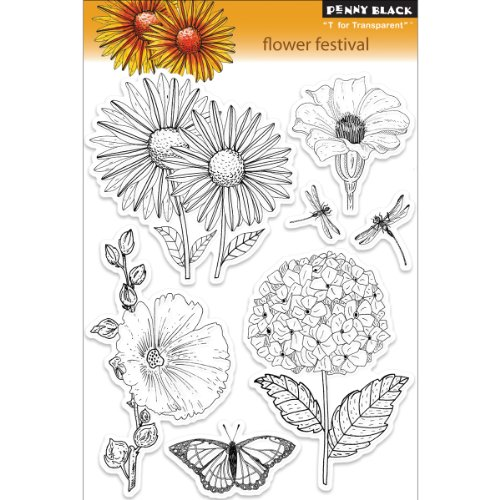 Penny Black PB30095 Flower Festival Stamps Sheet, 5 by 7.5-Inch, Clear