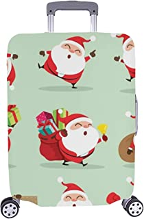 Collection Christmas Santa Claus Set 2 Pattern Spandex Trolley Case Travel Luggage Protector Suitcase Cover 28.5 X 20.5 inch