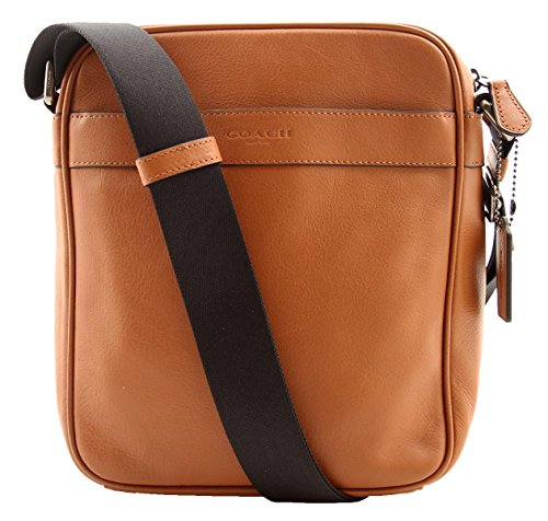 COACH Smooth Leather Flight Bag Crossbody in Saddle (Bag Coach Flight For Men)