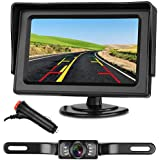 """Emmako Backup Camera and 4.3"""" Monitor System For Car/SUV/RV/Pickup/Truck/Trailer IP68 Waterproof Night Vision Rear View Camera Single Power Reversing/Driving Use With Guide Lines"""