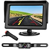 "Emmako Backup Camera and 4.3"" Monitor System For Car/SUV/RV/Pickup/Truck/Trailer IP68 Waterproof Night Vision Rear View Camera Single Power Reversing/Driving Use With Guide Lines"