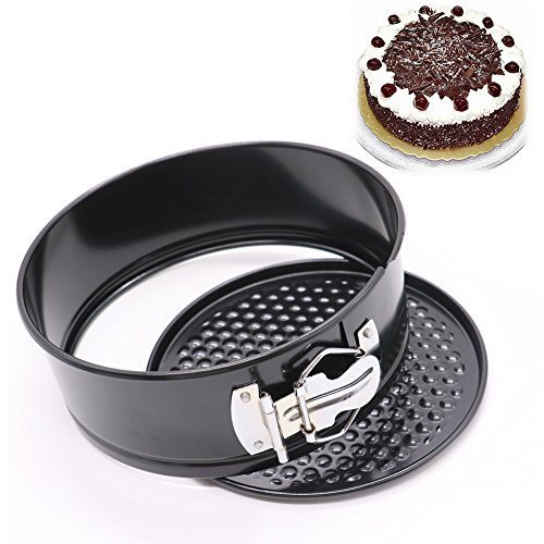 HUELE 7 Inch Non Stick Round Springform Cake Pan Cheesecake Pan Leakproof Cake Pan Bakeware Loose Base Cake Baking Tin Interlocking Bakeware (Round -Black)